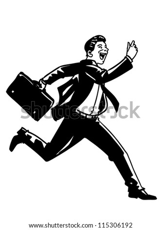 Hand Drawn Vector Running business man - stock vector