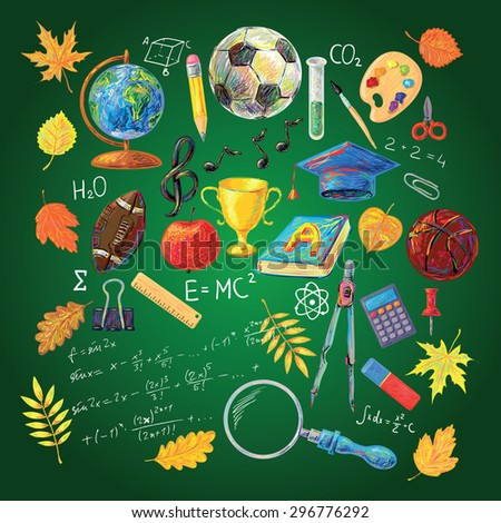 Hand drawn vector school object set. Back to school illustration. Perfect for your design - stock vector