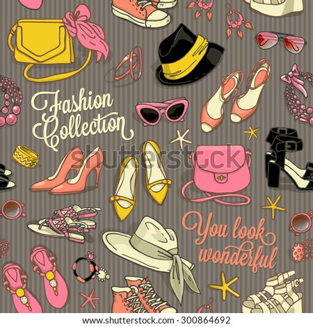 Hand drawn vector seamless pattern of shoes and female fashion accessories in retro style - stock vector