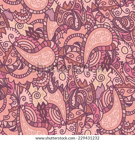 Hand drawn vector seamless pattern (tiling).Seamless pattern can be used for wallpaper, pattern fills, web page background, surface textures. Beautiful seamless floral background - stock vector