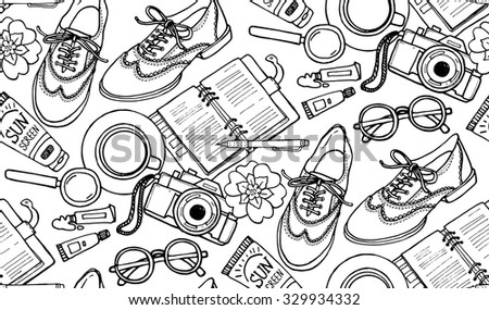 Hand drawn vector seamless pattern with shoes, notebook, cup of coffee, camera, glasses, pen, sunscreen, tubes of paint, flowers. Can use for print, web, fabric. Black and white doodle illustration. - stock vector