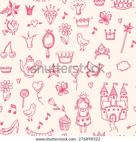 Hand drawn vector seamless princess pattern.  - stock vector