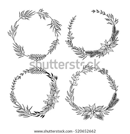 hand drawn vector vintage elements laurel stock vector