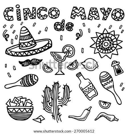 Hand drawn vector set of mexican symbols. Cinco de Mayo - stock vector