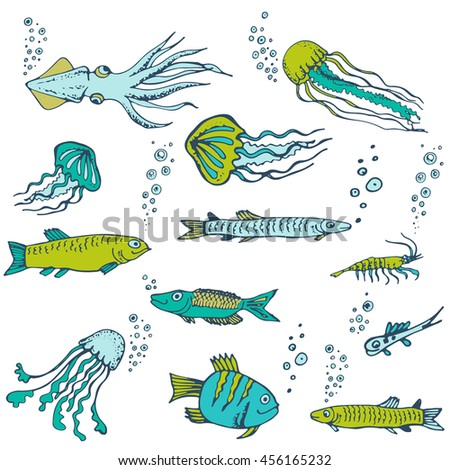 Hand drawn vector set with fish, jellyfish. Cartoon cute marine inhabitants in doodle style, sea food.