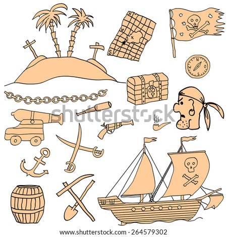 Hand drawn vector set with funny cartoon pirate elements and objects on color background. Vector file organized in groups for easy editing - stock vector