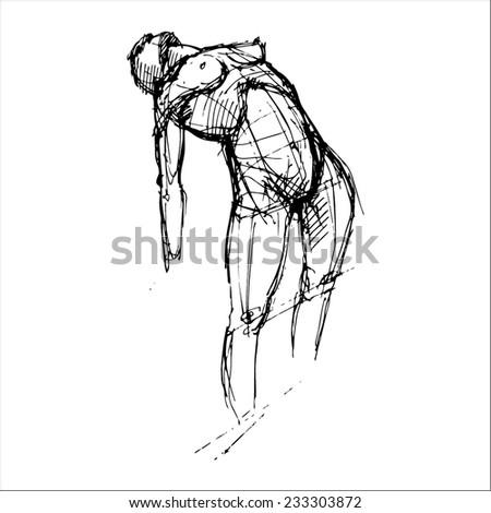 hand drawn vector sketch art of female torso - stock vector