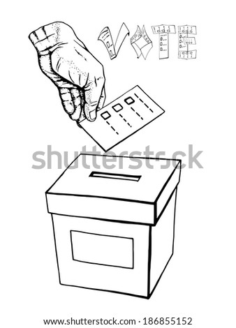 hand drawn, vector, sketch, illustration of voting, vote