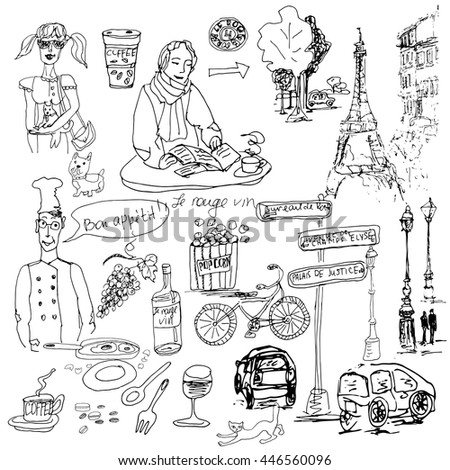 Hand drawn vector sketch. Ink illustration. Paris elements.