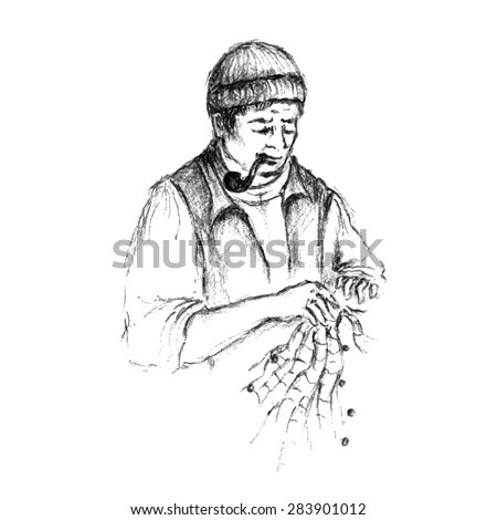 Hand drawn vector sketch of a fisherman mending nets