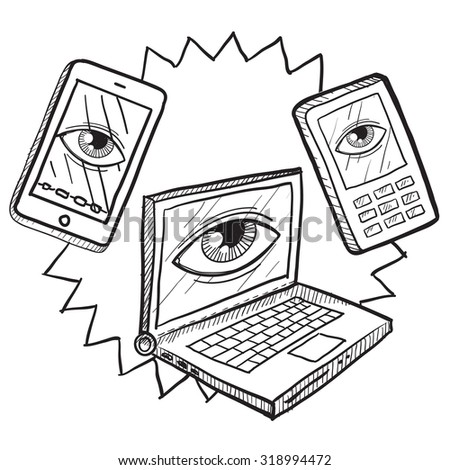 Hand drawn vector sketch of big brother's eye watching computers, mobile devices, and phones to indicate surveillance and lack of privacy. - stock vector