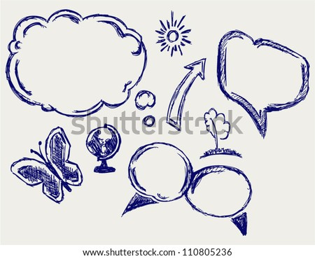 Hand drawn vector speech bubbles - stock vector