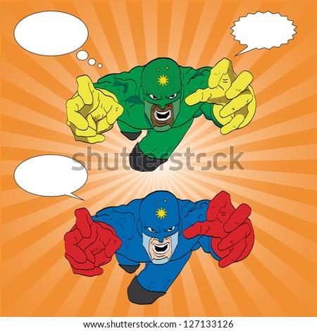 Hand drawn vector superhero - stock vector