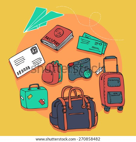 hand drawn vector travel card with paper plane and luggage
