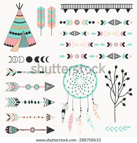 Hand drawn vector tribal elements. Aztec signs and symbols. - stock vector