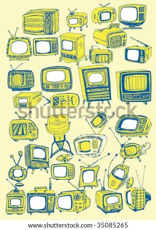 Hand drawn vector TVs - stock vector