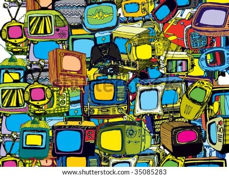 Hand drawn vector TVs background - stock vector