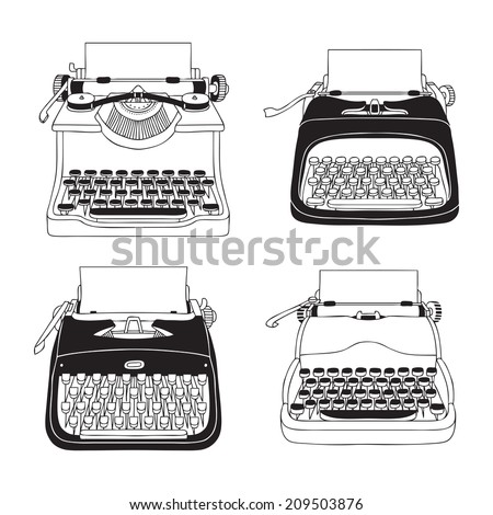 Hand Drawn Vector Typewriters - stock vector