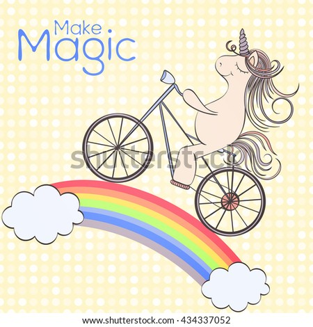 Hand drawn vector unicorn birthday card and which can be used for other holiday cards, invitation or website. Unicorn bright card. Holiday design. Birthday card concept