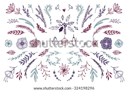 Hand Drawn vector vintage elements ( laurels, frames, leaves, berries, flowers, swirls and feathers). Perfect for invitations, greeting cards, quotes, blogs, Wedding Frames, posters and more. - stock vector