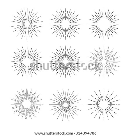 Hand Drawn vector vintage elements - sunburst (bursting) rays. Perfect for invitations, greeting cards, blogs, posters and more. - stock vector