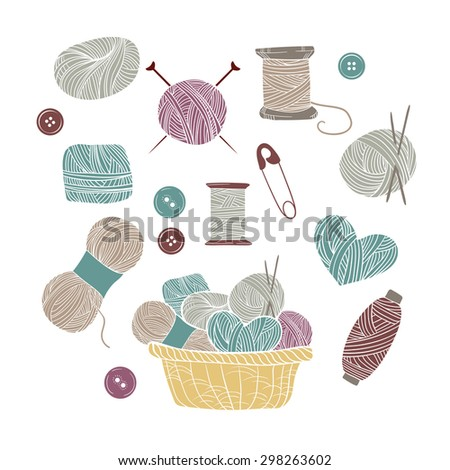 Hand drawn vector vintage illustration - Set of knitting and crafts. Yarn, pins, buttons and knitting needles - stock vector