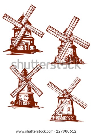 Hand-drawn vector windmills in vintage style in brown and white showing old stone windmills with sails for harnessing wind energy - stock vector
