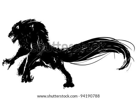Hand drawn vector wolf. - stock vector