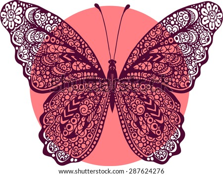 Hand drawn vector zentangle butterfly illustration. Decorative abstract doodle design element - stock vector