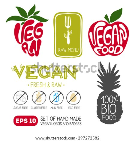 Hand Drawn Vegan Food Emblems, Labels, Logos and Design Elements. Set of Vector Badges and Stamps. - stock vector