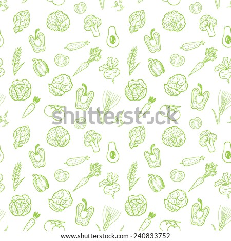 Hand drawn vegetable pattern. Vector background - stock vector
