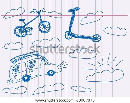 Hand drawn vehicle Vector. Visit my portfolio for big collection of doodles - stock vector