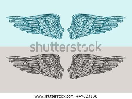 Hand Drawn Vintage Angel Wings Sketch Stock Vector 449623138