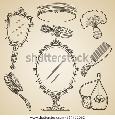 Hand drawn vintage beauty and retro makeup items. Fashion doodle and sketch mirror. Vintage beauty retro makeup vector icons - stock vector