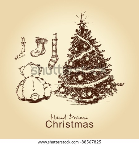 hand drawn vintage christmas card with teddy and christmas tree, for xmas design - stock vector
