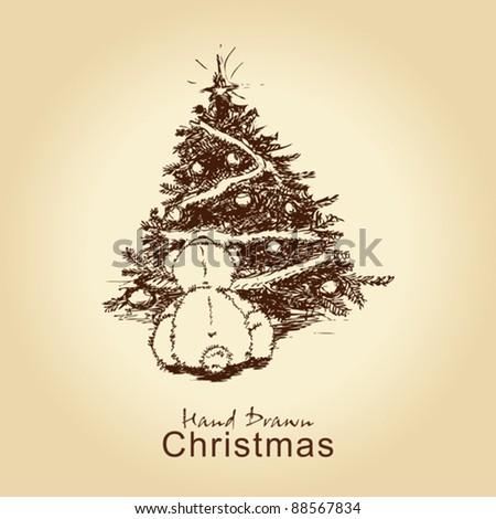 hand drawn vintage christmas card with teddy bear and christmas tree, for xmas design - stock vector
