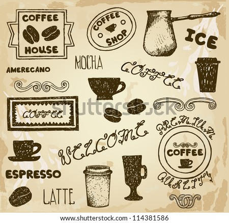 Hand Drawn Vintage Coffee Labels - stock vector