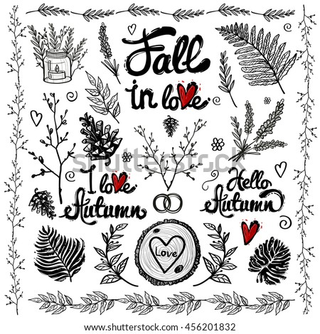 hand drawn vintage decoration items and elements fall in love autumn lettering isolated floral