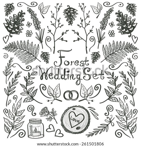 Hand drawn vintage decoration items. Set of isolated floral rustic forest wedding decorative symbols and elements. Black outline on white background - stock vector