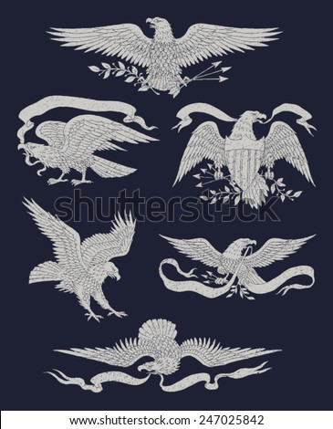Hand Drawn Vintage Eagle Vector Set - stock vector