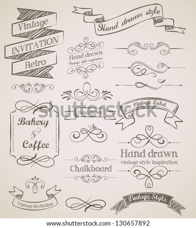 Hand drawn vintage elements - stock vector