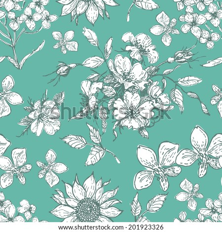Hand drawn vintage flora seamless background in fresh tones. Objects are conveniently grouped on different layers and are easily editable - stock vector