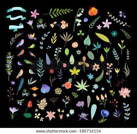 Hand Drawn vintage floral elements. Set of flowers. - stock vector