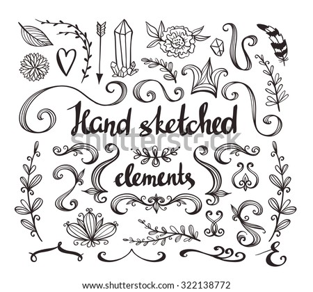 Hand Drawn vintage floral elements. Set of flowers, arrow, feather and decorative elements. - stock vector