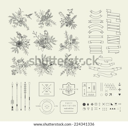 Hand Drawn vintage floral elements. Set of flowers with birds and decorative elements. - stock vector