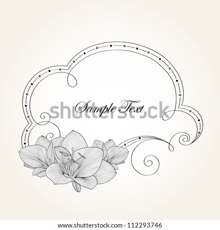 Hand-drawn vintage floral frame with flower lily. Element for design. - stock vector