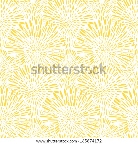 Hand drawn vintage floral pattern with dandelions or asters. Seamless vector texture for web, print, wallpaper, spring summer fashion, wedding invitation card background, fabric, textile, gift paper - stock vector