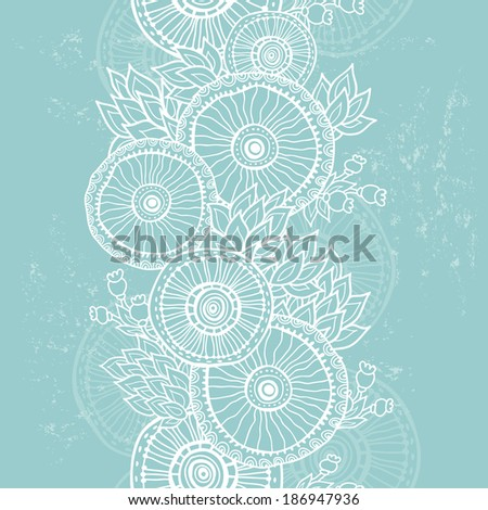 Hand  drawn vintage floral vertical seamless banner. All objects are conveniently grouped on different layers and are easily editable. You can easily delete grunge vintage abrasions - stock vector