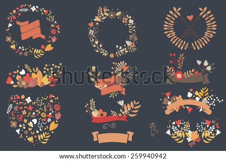Hand drawn vintage flowers and floral elements for weddings, Valentines day, birthdays and holidays, vector illustration - stock vector