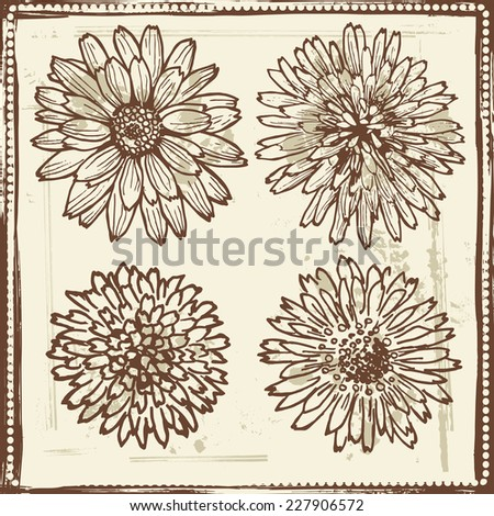 Hand drawn   vintage flowers sketch  All objects are conveniently grouped  and are easily editable. - stock vector